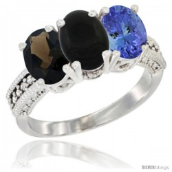 14K White Gold Natural Smoky Topaz, Black Onyx & Tanzanite Ring 3-Stone 7x5 mm Oval Diamond Accent