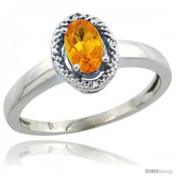 Sterling Silver Diamond Halo Natural Citrine Ring 0.75 Carat Oval Shape 6X4 mm, 3/8 in (9mm) wide