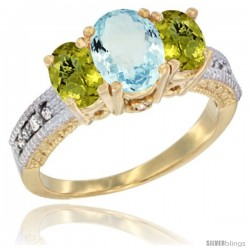 14k Yellow Gold Ladies Oval Natural Aquamarine 3-Stone Ring with Lemon Quartz Sides Diamond Accent