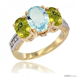 14K Yellow Gold Ladies 3-Stone Oval Natural Aquamarine Ring with Lemon Quartz Sides Diamond Accent