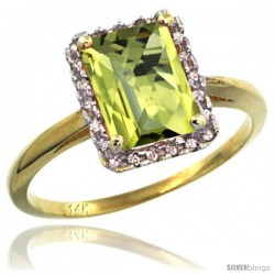 14k Yellow Gold Diamond Lemon Quartz Ring 1.6 ct Emerald Shape 8x6 mm, 1/2 in wide
