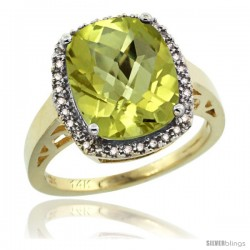 14k Yellow Gold Diamond Lemon Quartz Ring 5.17 ct Checkerboard Cut Cushion 12x10 mm, 1/2 in wide