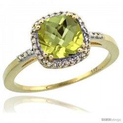 14k Yellow Gold Diamond Lemon Quartz Ring 1.5 ct Checkerboard Cut Cushion Shape 7 mm, 3/8 in wide