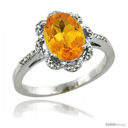 Sterling Silver Diamond Halo Natural Citrine Ring 1.65 Carat Oval Shape 9X7 mm, 7/16 in (11mm) wide