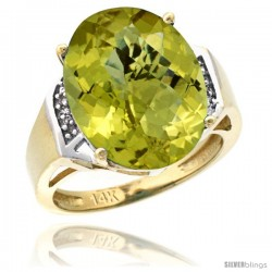 14k Yellow Gold Diamond Lemon Quartz Ring 9.7 ct Large Oval Stone 16x12 mm, 5/8 in wide