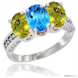 14K White Gold Natural Swiss Blue Topaz Ring with Lemon Quartz 3-Stone 7x5 mm Oval Diamond Accent