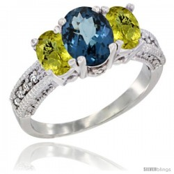 14k White Gold Ladies Oval Natural London Blue Topaz 3-Stone Ring with Lemon Quartz Sides Diamond Accent