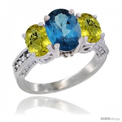 14K White Gold Ladies 3-Stone Oval Natural London Blue Topaz Ring with Lemon Quartz Sides Diamond Accent