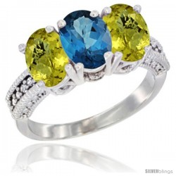 14K White Gold Natural London Blue Topaz Ring with Lemon Quartz 3-Stone 7x5 mm Oval Diamond Accent