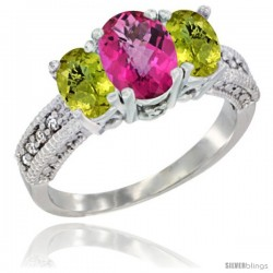 14k White Gold Ladies Oval Natural Pink Topaz 3-Stone Ring with Lemon Quartz Sides Diamond Accent