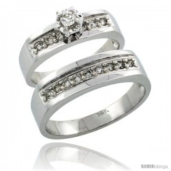 14k White Gold 2-Piece Diamond Ring Band Set w/ Rhodium Accent ( Engagement Ring & Man's Wedding Band ), w/ 0.39 Carat