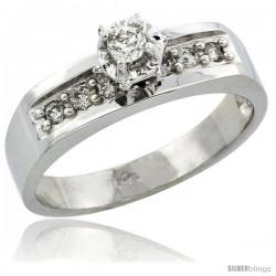 14k White Gold Diamond Engagement Ring w/ 0.20 Carat Brilliant Cut Diamonds, 3/16 in. (5mm) wide