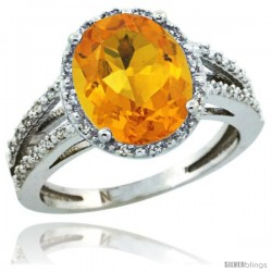 Sterling Silver Diamond Halo Natural Citrine Ring 2.85 Carat Oval Shape 11X9 mm, 7/16 in (11mm) wide
