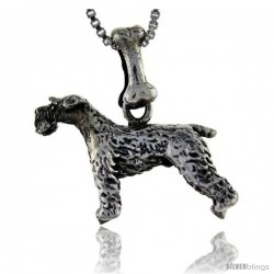 Sterling Silver Kerry Blue Terrier Dog Pendant