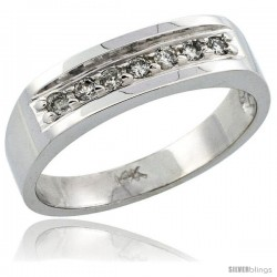 14k White Gold Ladies' Diamond Ring Band w/ 0.15 Carat Brilliant Cut Diamonds, 3/16 in. (5mm) wide