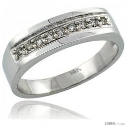 14k White Gold Men's Diamond Ring Band w/ 0.19 Carat Brilliant Cut Diamonds, 1/4 in. (6mm) wide