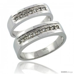 14k White Gold 2-Piece His (6mm) & Hers (5mm) Diamond Wedding Ring Band Set w/ 0.34 Carat Brilliant Cut Diamonds