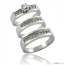 14k White Gold 3-Piece Trio His (6mm) & Hers (5mm) Diamond Wedding Ring Band Set w/ 0.54 Carat Brilliant Cut Diamonds