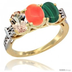 10K Yellow Gold Natural Morganite, Coral & Malachite Ring 3-Stone Oval 7x5 mm Diamond Accent