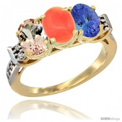 10K Yellow Gold Natural Morganite, Coral & Tanzanite Ring 3-Stone Oval 7x5 mm Diamond Accent