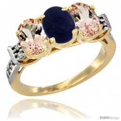 10K Yellow Gold Natural Lapis & Morganite Sides Ring 3-Stone Oval 7x5 mm Diamond Accent