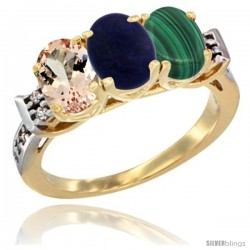 10K Yellow Gold Natural Morganite, Lapis & Malachite Ring 3-Stone Oval 7x5 mm Diamond Accent