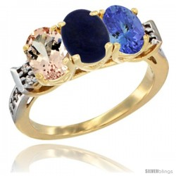 10K Yellow Gold Natural Morganite, Lapis & Tanzanite Ring 3-Stone Oval 7x5 mm Diamond Accent