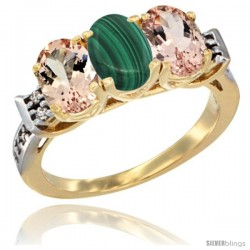 10K Yellow Gold Natural Malachite & Morganite Sides Ring 3-Stone Oval 7x5 mm Diamond Accent
