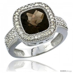 14k White Gold Ladies Natural Smoky Topaz Ring Cushion-cut 4 ct. 8x8 Stone Diamond Accent