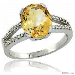 Sterling Silver and Diamond Halo Natural Citrine Ring 2.4 carat Oval shape 10X8 mm, 3/8 in (10mm) wide