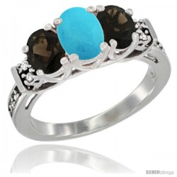 14K White Gold Natural Turquoise & Smoky Topaz Ring 3-Stone Oval with Diamond Accent