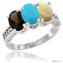 14K White Gold Natural Smoky Topaz, Turquoise & Opal Ring 3-Stone 7x5 mm Oval Diamond Accent