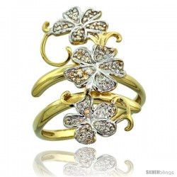 14k Gold Floral Vine Diamond Ring w/ 0.18 Carat Brilliant Cut ( H-I Color SI1 Clarity ) Diamonds, 1 1/8 in. (28mm) wide