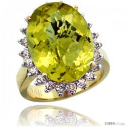 14k Yellow Gold Diamond Halo Amethyst Ring 10 ct Large Oval Stone 18x13 mm, 7/8 in wide -Style Cy427132