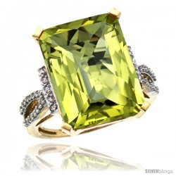 14k Yellow Gold Diamond Lemon Quartz Ring 12 ct Emerald Shape 16x12 Stone 3/4 in wide