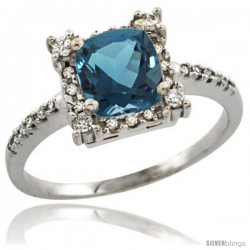 10k White Gold Diamond Halo London Blue Topaz Ring 1.2 ct Checkerboard Cut Cushion 6 mm, 11/32 in wide