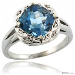 10k White Gold Diamond Halo London Blue Topaz Ring 2.7 ct Checkerboard Cut Cushion Shape 8 mm, 1/2 in wide
