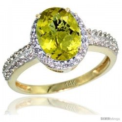 14k Yellow Gold Diamond Lemon Quartz Ring Oval Stone 9x7 mm 1.76 ct 1/2 in wide