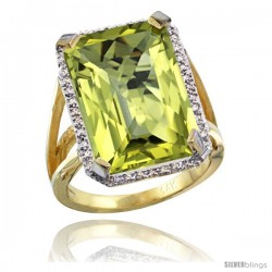 14k Yellow Gold Diamond Lemon Quartz Ring 14.96 ct Emerald shape 18x13 Stone 13/16 in wide
