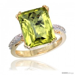 14k Yellow Gold Diamond Lemon Quartz Ring 5.83 ct Emerald Shape 12x10 Stone 1/2 in wide