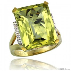 14k Yellow Gold Diamond Lemon Quartz Ring 12 ct Emerald Cut 16x12 stone 3/4 in wide