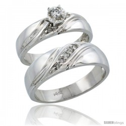 14k White Gold 2-Piece Diamond Ring Band Set w/ Rhodium Accent ( Engagement Ring & Man's Wedding Band ), w/ 0.21 Carat