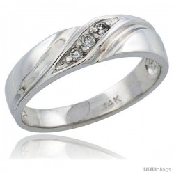 14k White Gold Diamond Engagement Ring w/ 0.11 Carat Brilliant Cut Diamonds, 3/16 in. (5mm) wide -Style 14w110er