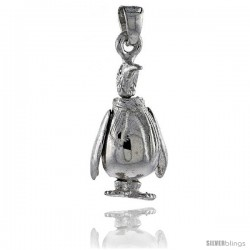 Sterling Silver High Polished Movable Penguin Pendant