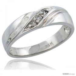 14k White Gold Ladies' Diamond Ring Band w/ 0.06 Carat Brilliant Cut Diamonds, 3/16 in. (5mm) wide -Style 14w110lb