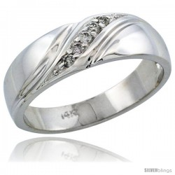14k White Gold Men's Diamond Ring Band w/ 0.10 Carat Brilliant Cut Diamonds, 1/4 in. (7mm) wide
