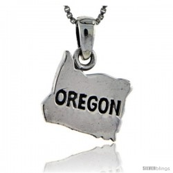 Sterling Silver Oregon State Map Pendant, 3/4 in tall