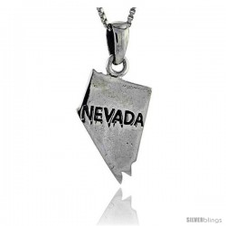 Sterling Silver Nevada State Map Pendant, 3/4 in tall