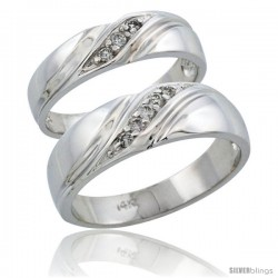 14k White Gold 2-Piece His (7mm) & Hers (5mm) Diamond Wedding Ring Band Set w/ 0.16 Carat Brilliant Cut Diamonds