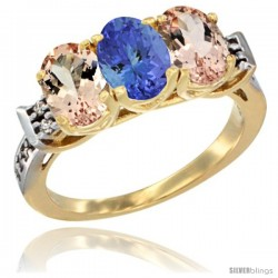 10K Yellow Gold Natural Tanzanite & Morganite Sides Ring 3-Stone Oval 7x5 mm Diamond Accent